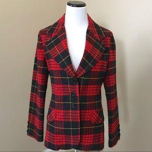 Vintage Red Black Tartan Plaid Blazer Jacket